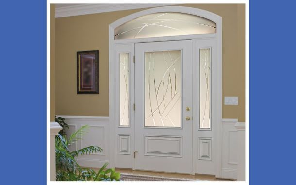 White door with glass work
