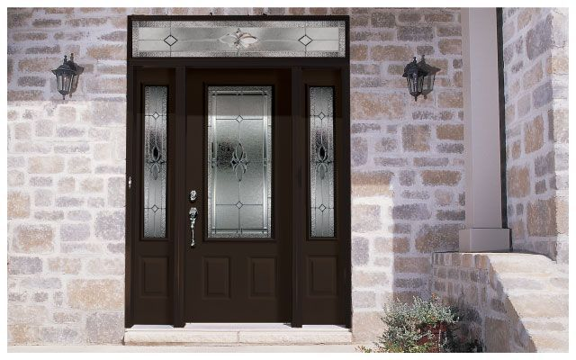 Dark brown wooden glass door